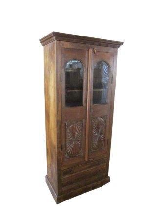 Cabinet Original Door With Glass Carved Panel Haveli Home