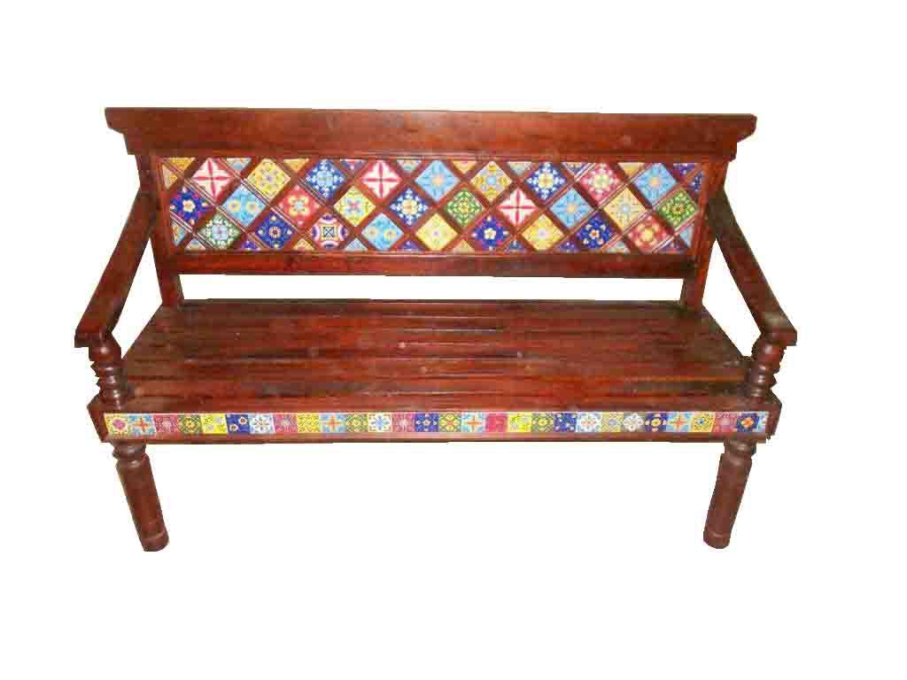 Bench wooden with ceramic tile inlay haveli home bench wooden with ceramic tile inlay dailygadgetfo Images
