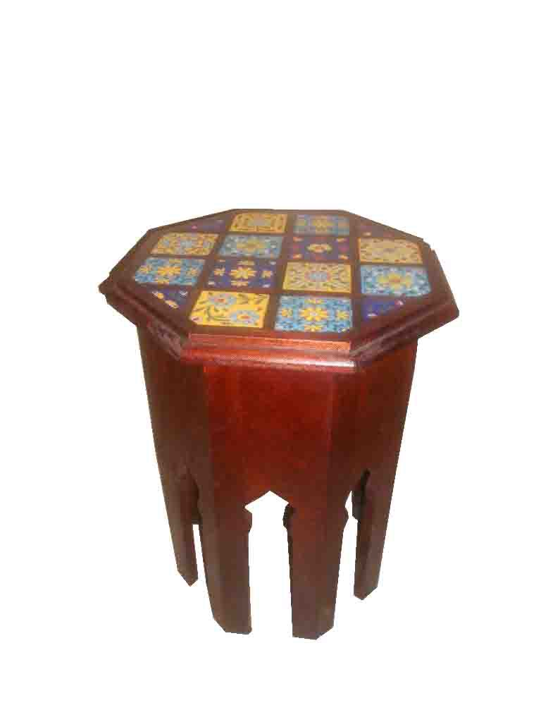 End table wooden with ceramic tile inlay haveli home end table wooden with ceramic tile inlay dailygadgetfo Image collections