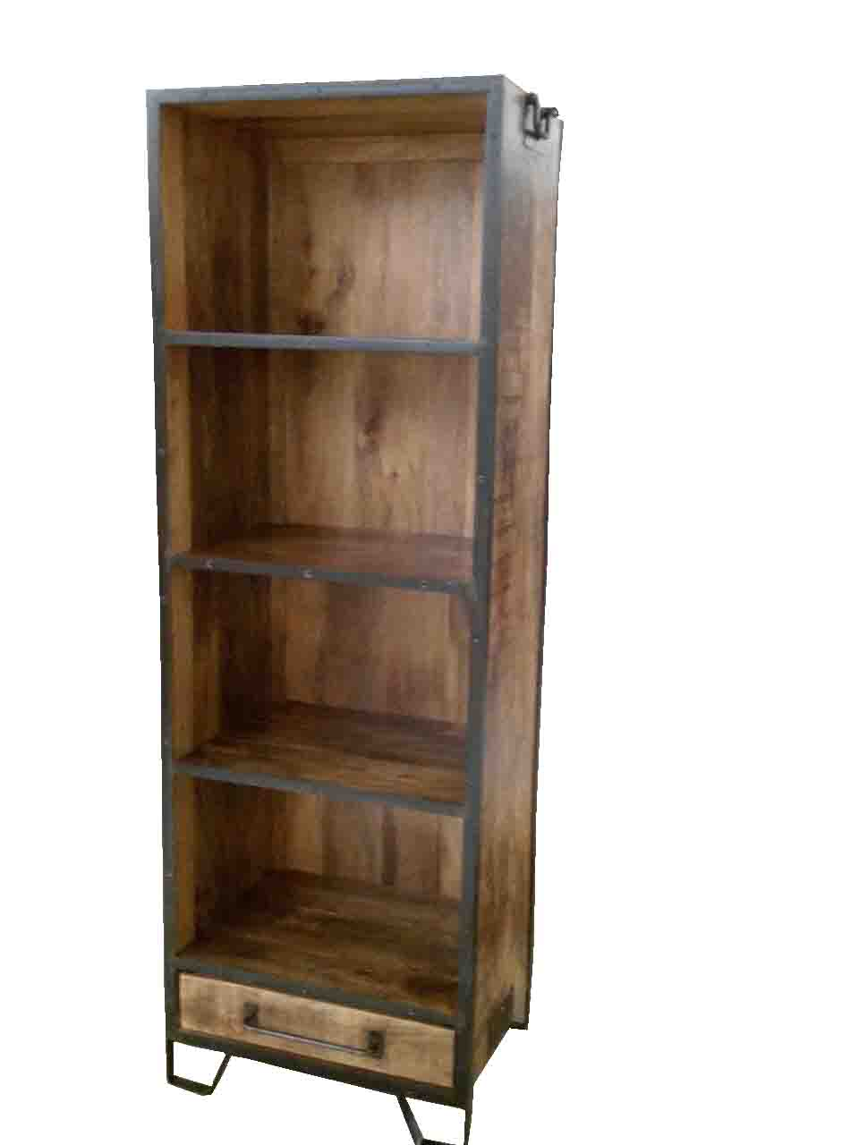 BOOK UNIT – IRON FRAME WITH WOOD – ONE DRAWER | Haveli Home