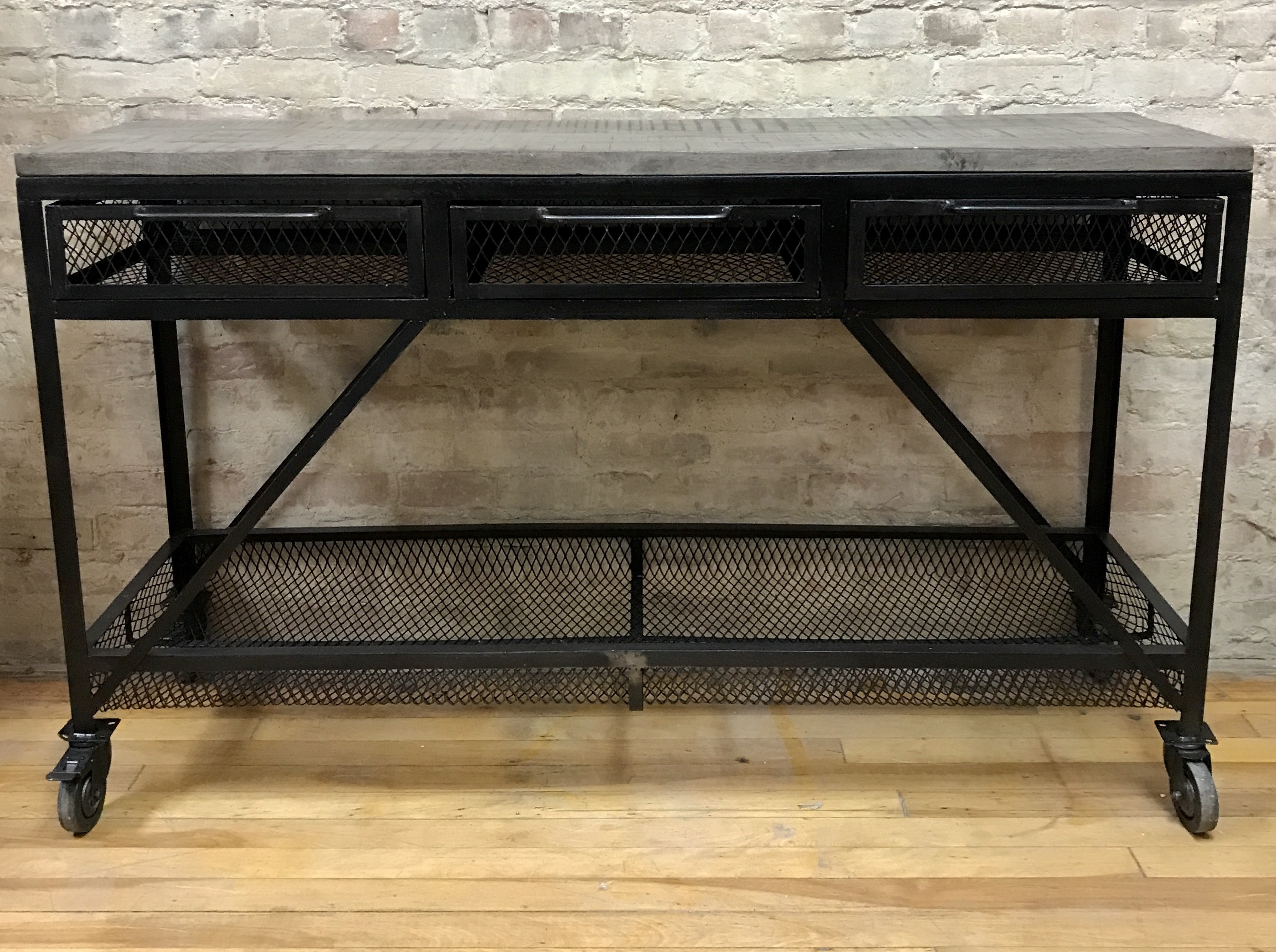 CONSOLE TABLE METAL AND WOOD