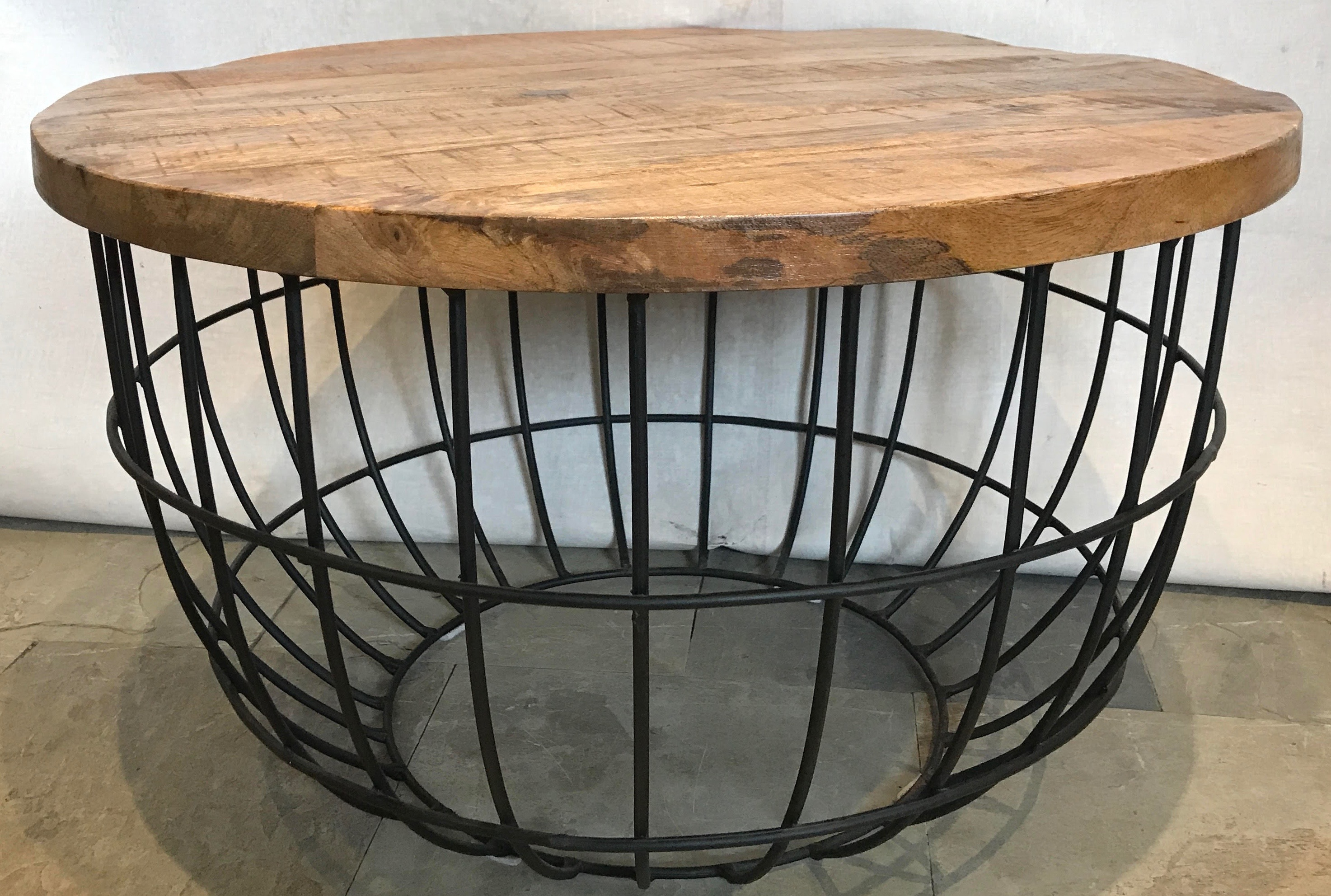 COFFEE TABLE - ROUND WITH IRON FRAME
